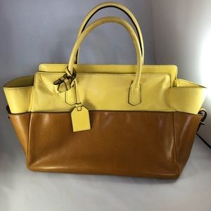 Vintage Reed Karkoff Yellow and Nude Tote